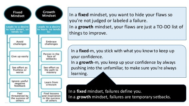 In a fixed mindset, you want to hide your flaws so you're not judged or labeled a failure. In a growth mindset, your flaws...