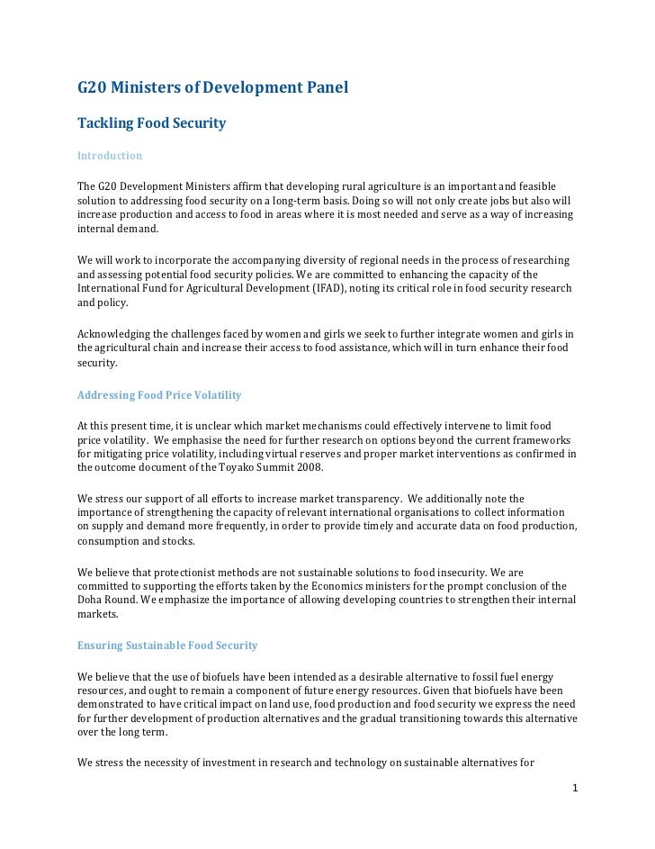 G20	  Ministers	  of	  Development	  Panel	  	  Tackling	  Food	  Security	  	  Introduction	  	  The	  G20	  Development	...