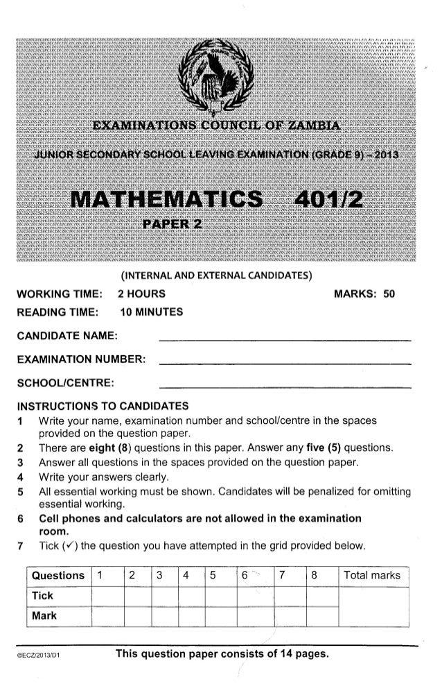 ECZ Grade 9 Paper 2 Maths 2013 Past Paper