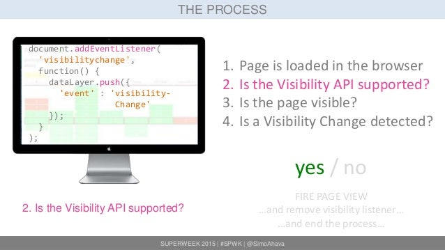 SUPERWEEK 2015   #SPWK   @SimoAhava THE PROCESS 2. Is the Visibility API supported? 1. Page is loaded in the browser 2. Is...