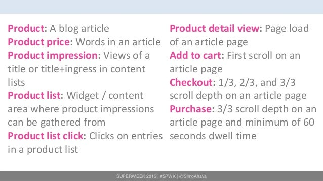 SUPERWEEK 2015 | #SPWK | @SimoAhava Product: A blog article Product price: Words in an article Product impression: Views o...