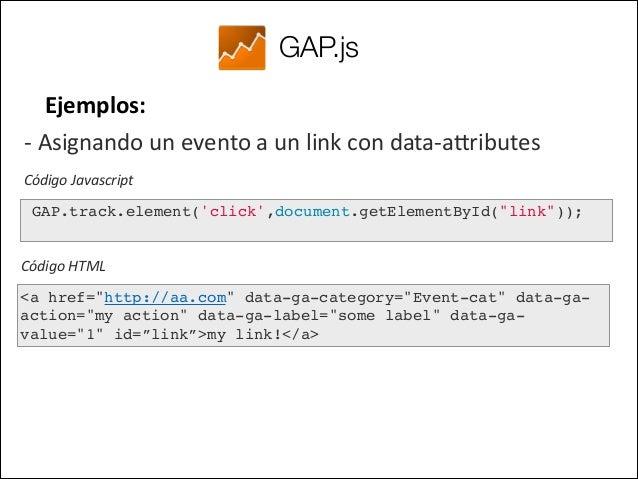 GAP.js Ejemplos:  Tracking de errores javascript     !   Código Javascript  ! ! GAP.track.errors(); ! !