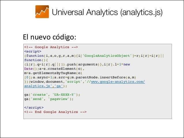 Universal Analytics (analytics.js) Ventajas •  Script mejorado (ej. plugins)  •  Protocolo de Medición (HTTP Req...