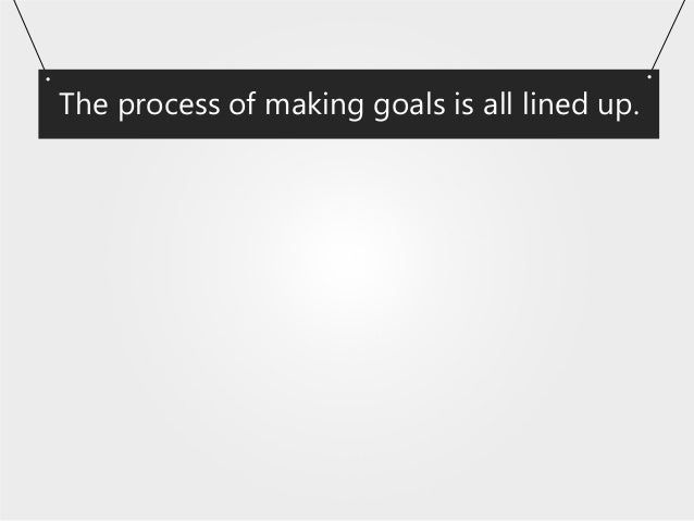 The process of making goals is all lined up.