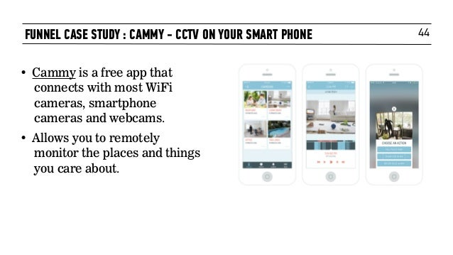 44FUNNEL CASE STUDY : CAMMY - CCTV ON YOUR SMART PHONE • Cammy is a free app that connects with most WiFi cameras, smartph...
