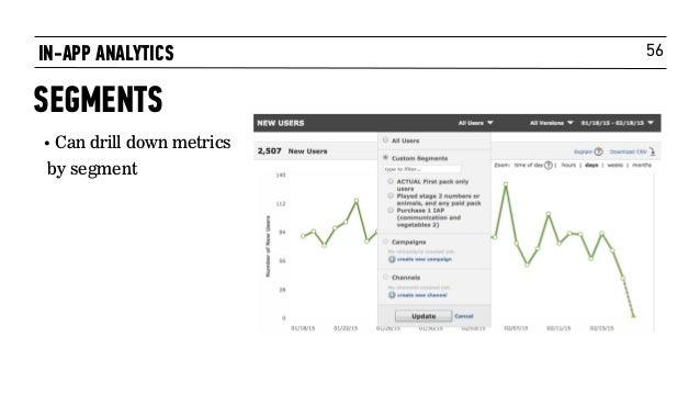 56IN-APP ANALYTICS SEGMENTS • Can drill down metrics by segment