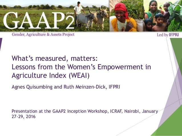 What's measured, matters: Lessons from the Women's Empowerment in Agriculture Index (WEAI) Agnes Quisumbing and Ruth Meinz...