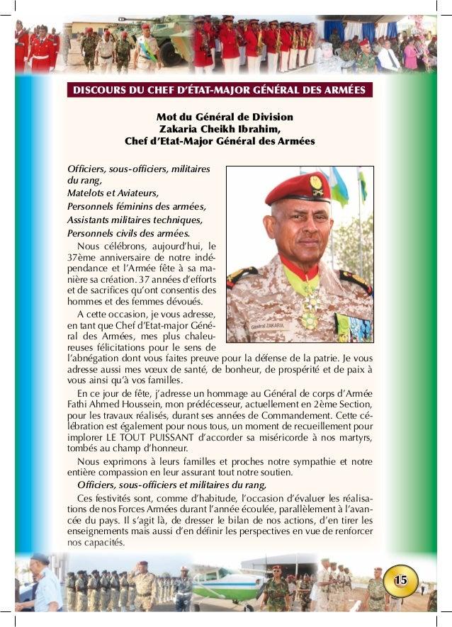 15 Mot du Général de Division Zakaria Cheikh Ibrahim, Chef d'Etat-Major Général des Armées Officiers, sous-officiers, mili...