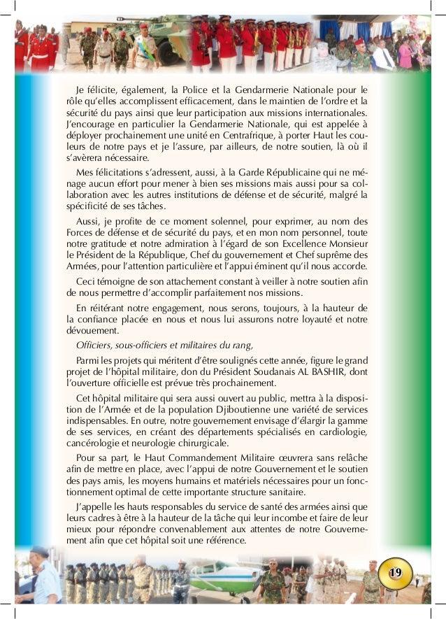 19 Je félicite, également, la Police et la Gendarmerie Nationale pour le rôle qu'elles accomplissent efficacement, dans le...