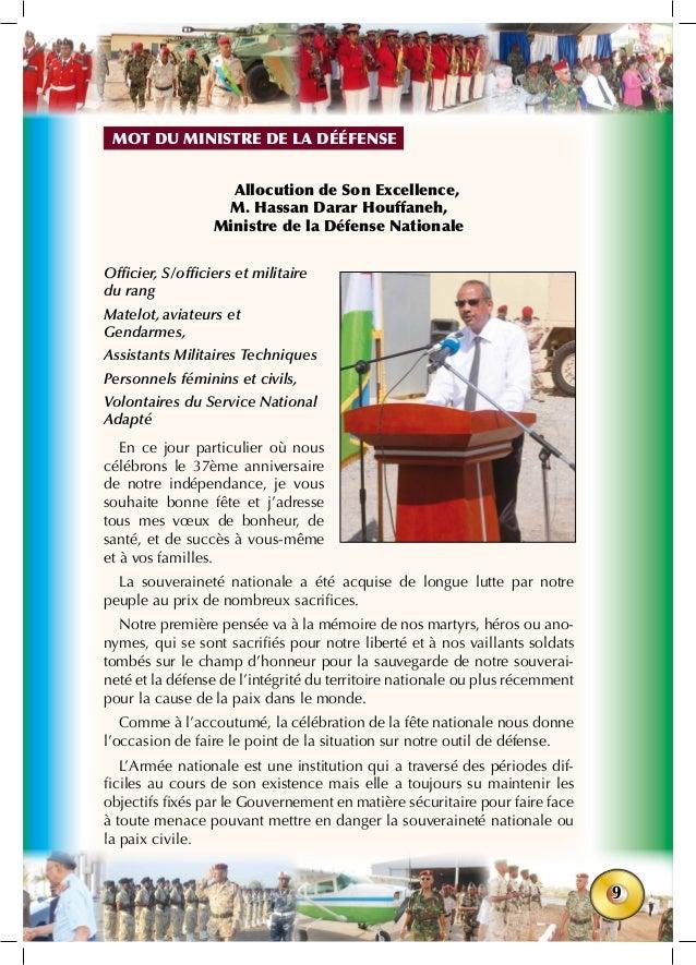 9 Allocution de Son Excellence, M. Hassan Darar Houffaneh, Ministre de la Défense Nationale Officier, S/officiers et milit...