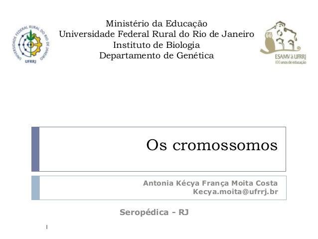 Os cromossomos Antonia Kécya França Moita Costa Kecya.moita@ufrrj.br Seropédica - RJ Ministério da Educação Universidade F...