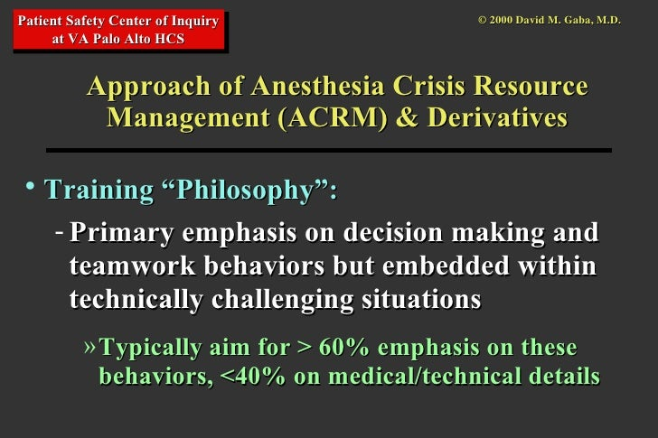 Crisis Resource Management : Application of simulation in anesthesia