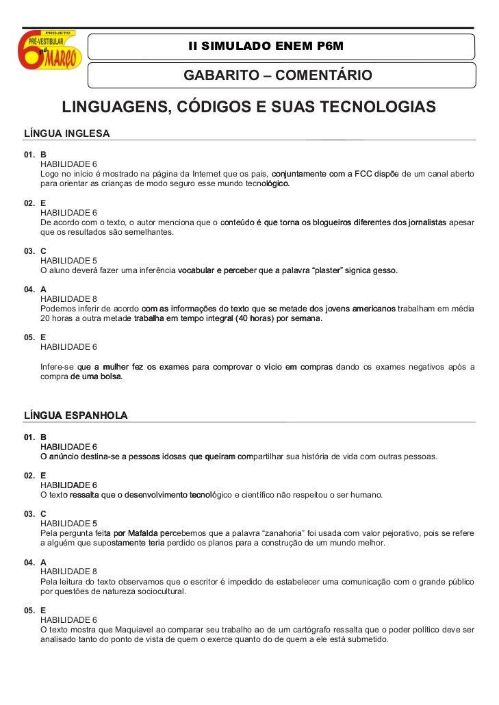 II SIMULADO ENEM P6M                                          GABARITO – COMENTÁRIO          LINGUAGENS, CÓDIGOS E SUAS TE...