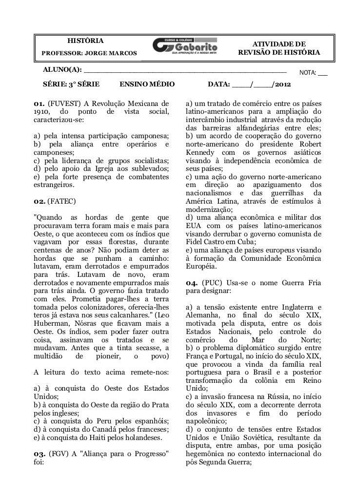 HISTÓRIA                                               ATIVIDADE DE  PROFESSOR: JORGE MARCOS                              ...