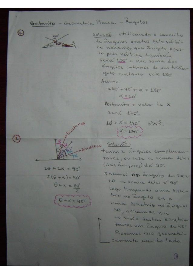 Gabarito   geometria - ângulos