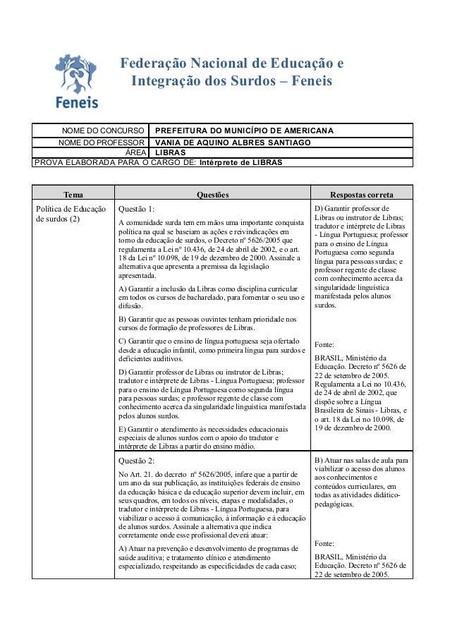 Federação Nacional de Educação e                        Integração dos Surdos – Feneis       NOME DO CONCURSO             ...