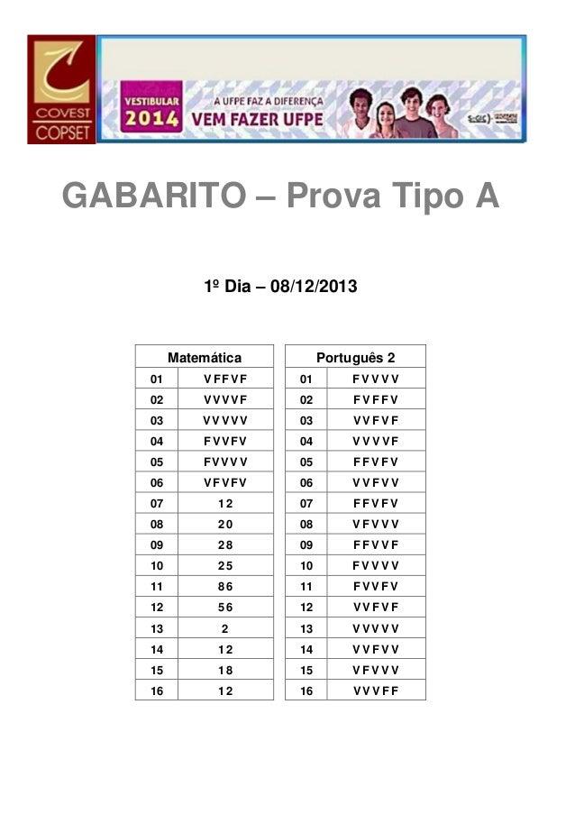 GABARITO – Prova Tipo A 1º Dia – 08/12/2013  Matemática  Português 2  01  VFFVF  01  FVVVV  02  VVVVF  02  FVFFV  03  VVVV...