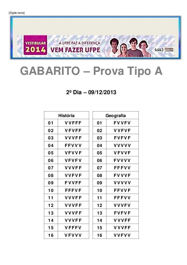 [Digite texto]  GABARITO – Prova Tipo A 2º Dia – 09/12/2013  História  Geografia  01  VVFFF  01  FVVFV  02  VFVFF  02  VVF...