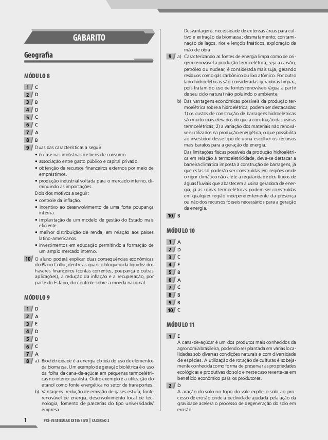 1 pré-vestibular extensivo | caderno 2 gABARITo geografa Módulo 8 1 C 2 D 3 B 4 D 5 C 6 C 7 A 8 B 9 Duas das característic...