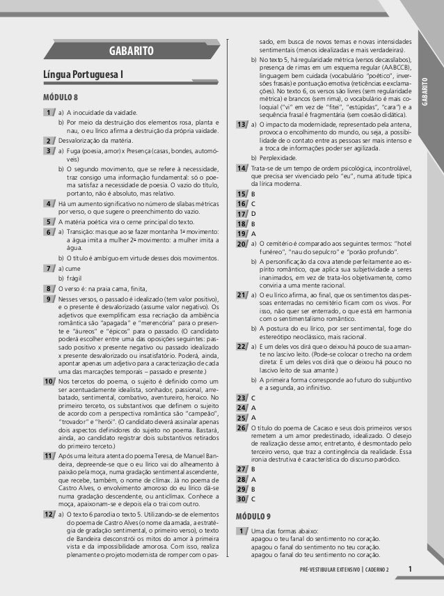 1 GABARITO Pré-vestibular extensivo | caderno 2 GABARITo Língua Portuguesa I Módulo 8 1 a) A inocuidade da vaidade. b) Por...
