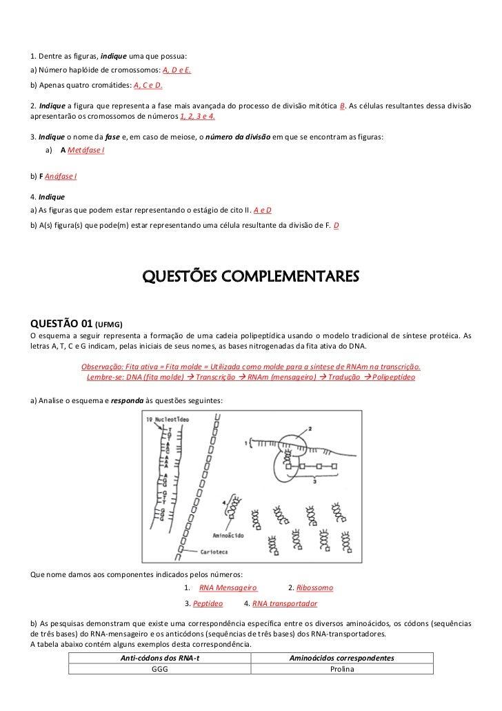 1. Dentre as figuras, indique uma que possua:a) Número haplóide de cromossomos: A, D e E.b) Apenas quatro cromátides: A, C...