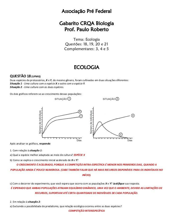Associação Pré Federal                                           Gabarito CRQA Biologia                                   ...
