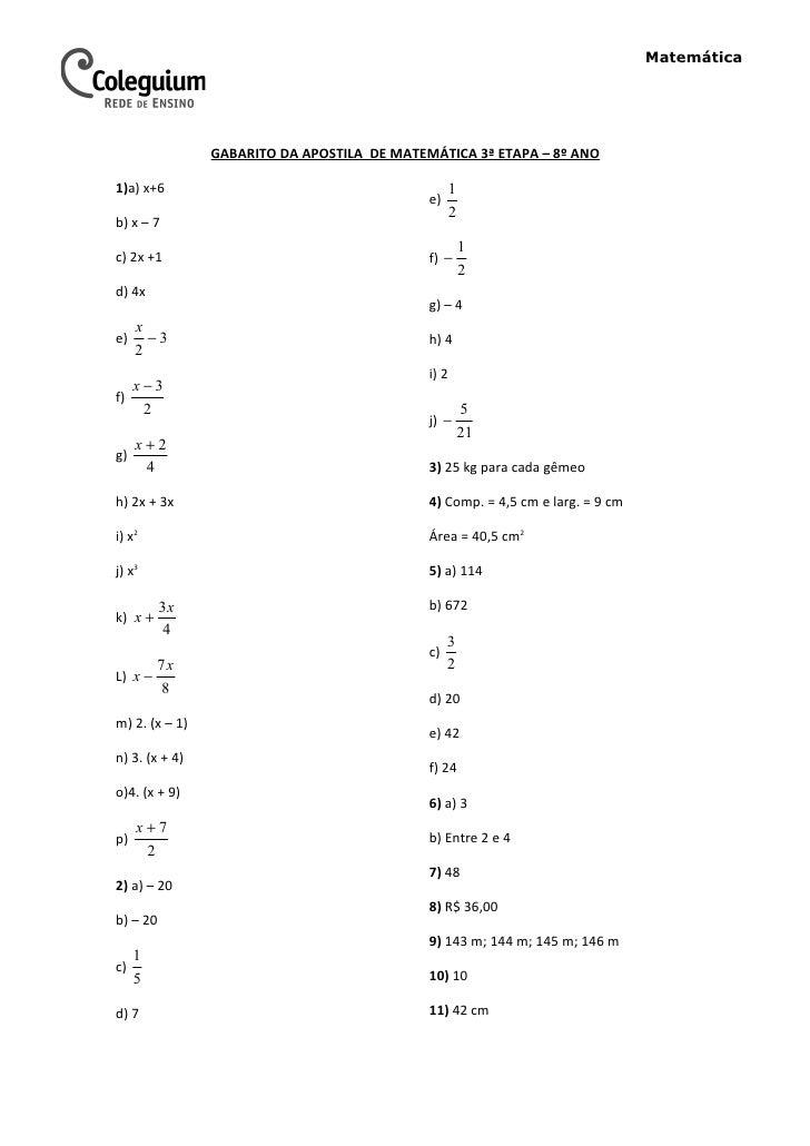 Matemática                GABARITO DA APOSTILA DE MATEMÁTICA 3ª ETAPA – 8º ANO1)a) x+6                                    ...