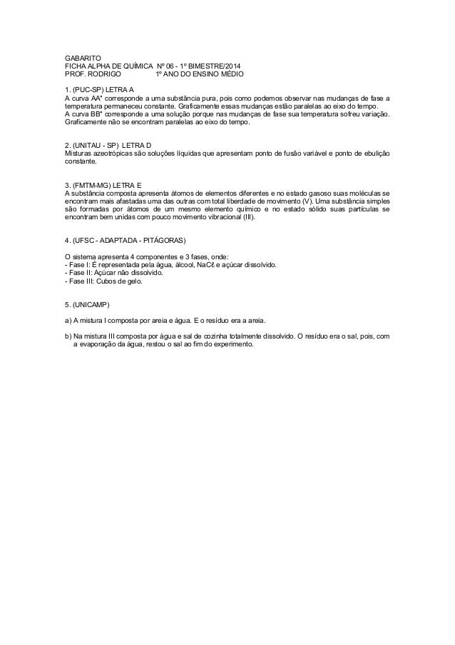 GABARITO FICHA ALPHA DE QUÍMICA Nº 06 - 1º BIMESTRE/2014 PROF. RODRIGO 1º ANO DO ENSINO MÉDIO 1. (PUC-SP) LETRA A A curva ...