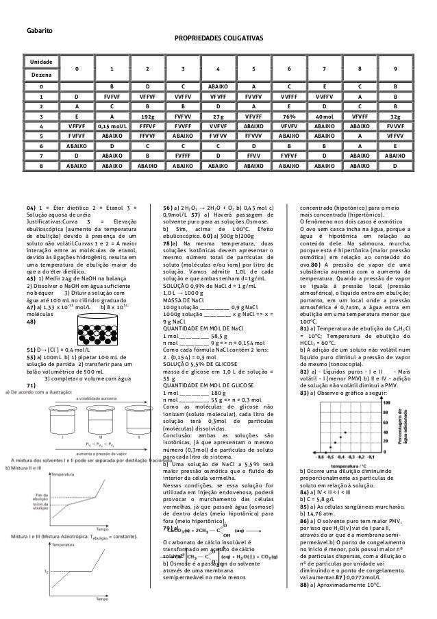 Gabarito PROPRIEDADES COLIGATIVAS 04) 1 = Éter dietílico 2 = Etanol 3 = Solução aquosa de uréia Justificativas:Curva 3 = E...