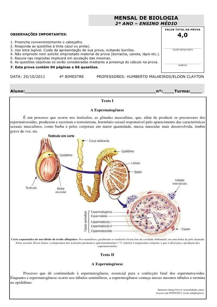 MENSAL DE BIOLOGIA                                                                                     2º ANO – ENSINO MÉD...