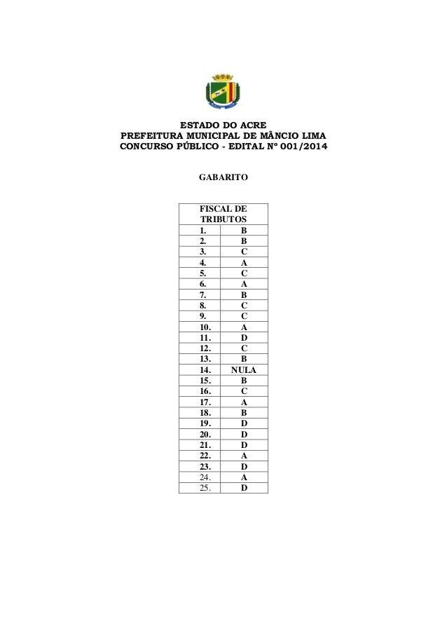 ESTADO DO ACRE PREFEITURA MUNICIPAL DE MÂNCIO LIMA CONCURSO PÚBLICO - EDITAL Nº 001/2014  GABARITO  FISCAL DE TRIBUTOS 1. ...