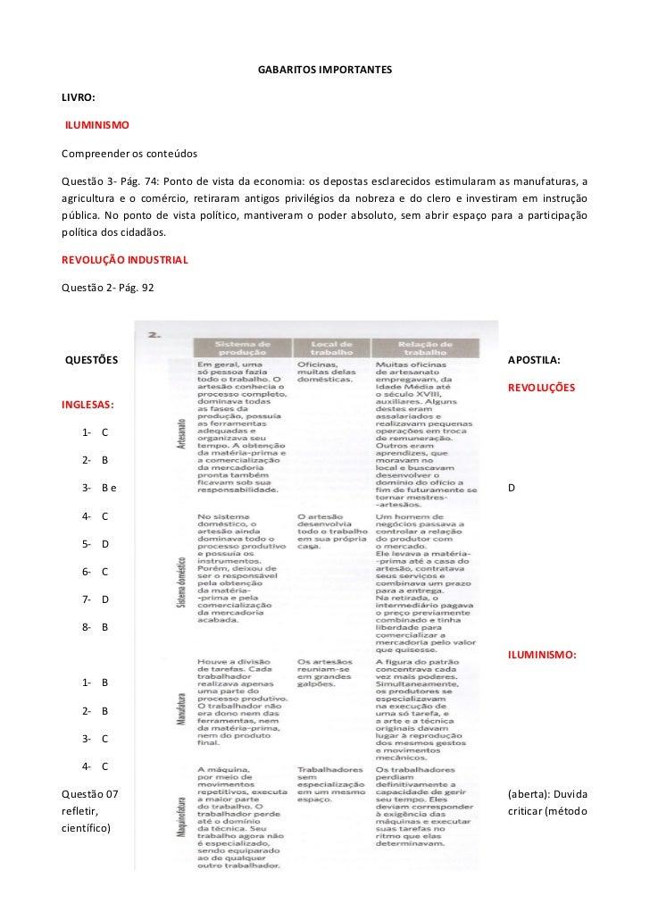 GABARITOS IMPORTANTESLIVRO:ILUMINISMOCompreender os conteúdosQuestão 3- Pág. 74: Ponto de vista da economia: os depostas e...