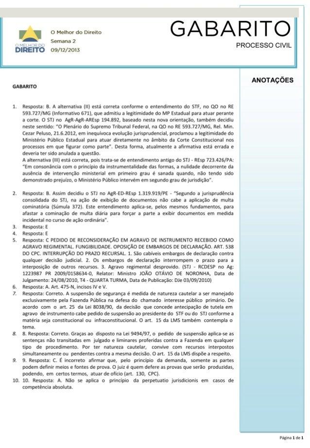 Gabarito Processo Civil -  Semana 2