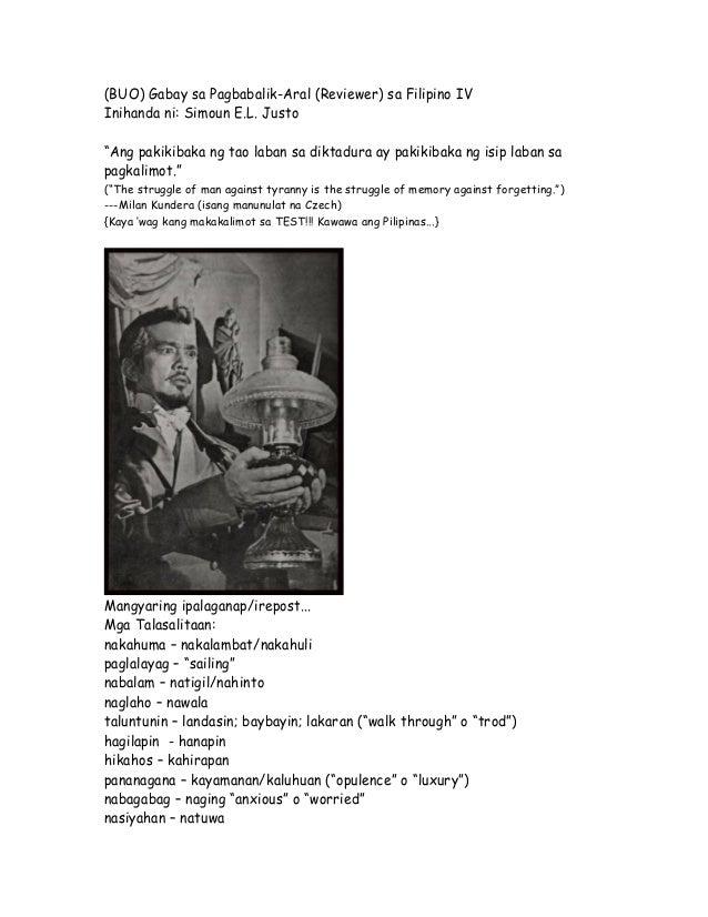 """(BUO) Gabay sa Pagbabalik-Aral (Reviewer) sa Filipino IVInihanda ni: Simoun E.L. Justo""""Ang pakikibaka ng tao laban sa dikt..."""