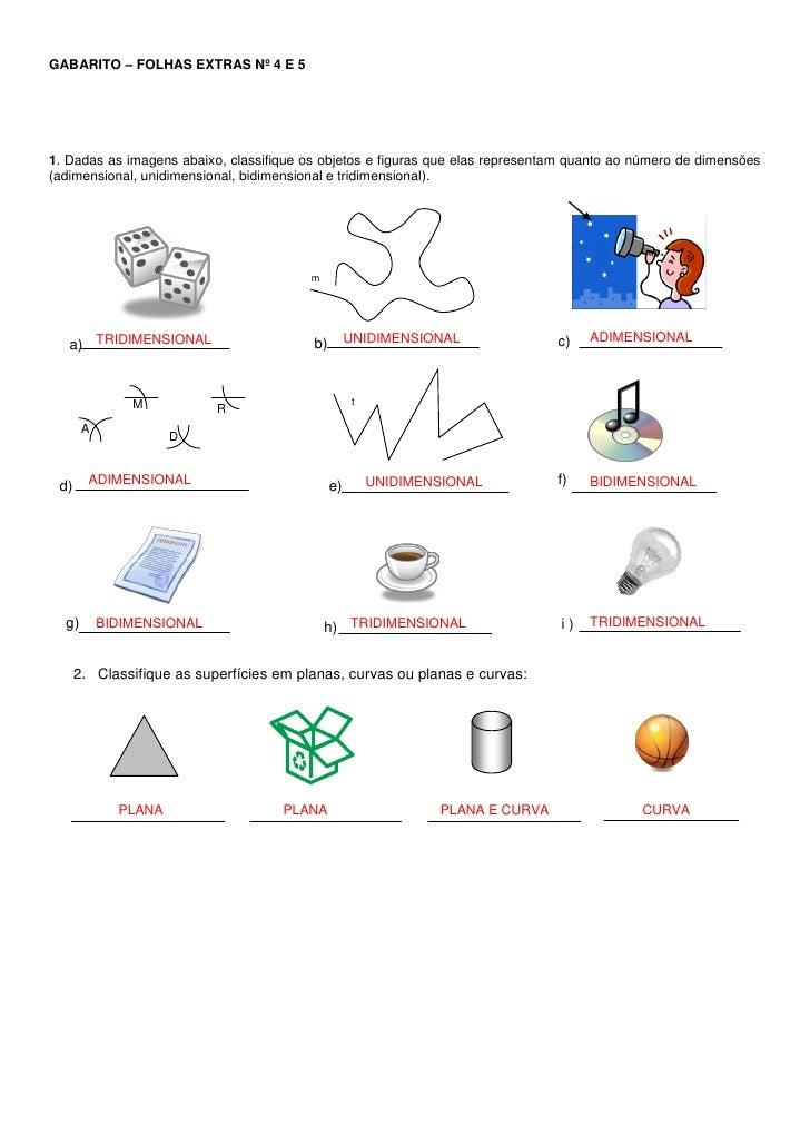 GABARITO – FOLHAS EXTRAS Nº 4 E 5     1. Dadas as imagens abaixo, classifique os objetos e figuras que elas representam qu...
