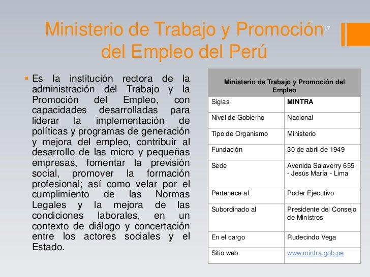 Gabinete ministerial del per for Oficina estatal de empleo