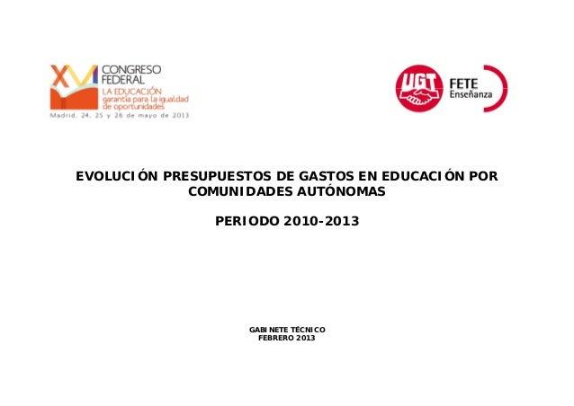 EVOLUCIÓN PRESUPUESTOS DE GASTOS EN EDUCACIÓN POR COMUNIDADES AUTÓNOMAS PERIODO 2010-2013  GABINETE TÉCNICO FEBRERO 2013