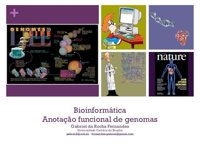 + Bioinformática Anotação funcional de genomas Gabriel da Rocha Fernandes Universidade Católica de Brasília gabrielf@ucb.b...