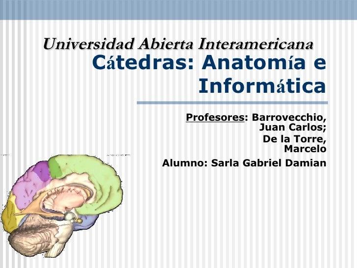 C á tedras: Anatom í a e Inform á tica Profesores : Barrovecchio, Juan Carlos; De la Torre, Marcelo Alumno: Sarla Gabriel ...