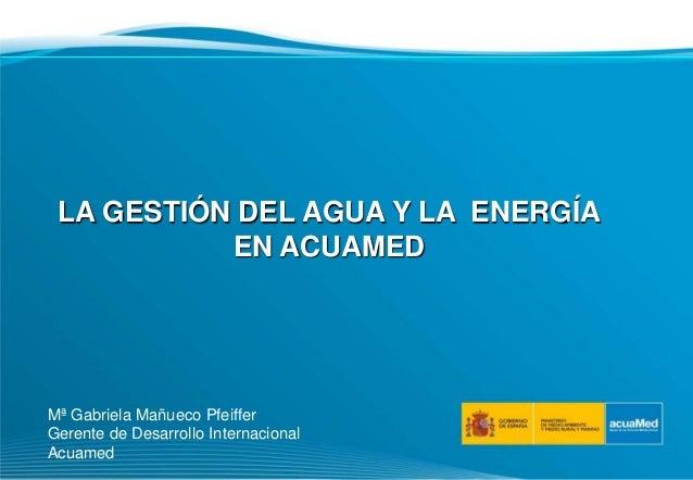 LA GESTIÓN DEL AGUA Y LA ENERGÍA EN ACUAMED Mª Gabriela Mañueco Pfeiffer Gerente de Desarrollo Internacional Acuamed