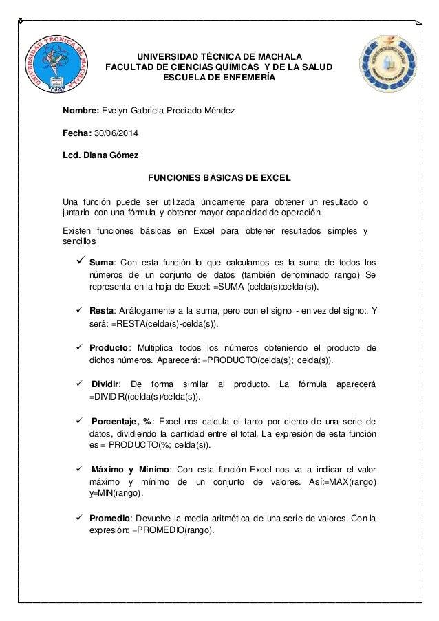 UNIVERSIDAD TÉCNICA DE MACHALA  FACULTAD DE CIENCIAS QUÍMICAS Y DE LA SALUD  ESCUELA DE ENFEMERÍA  Nombre: Evelyn Gabriela...