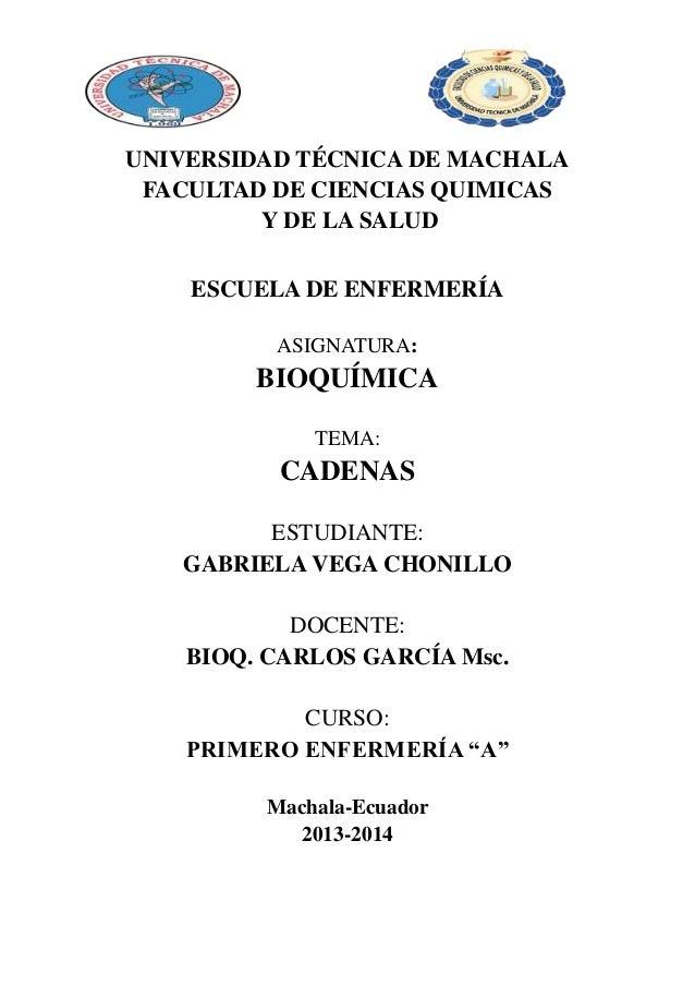 UNIVERSIDAD TÉCNICA DE MACHALA FACULTAD DE CIENCIAS QUIMICAS Y DE LA SALUD ESCUELA DE ENFERMERÍA ASIGNATURA:  BIOQUÍMICA T...