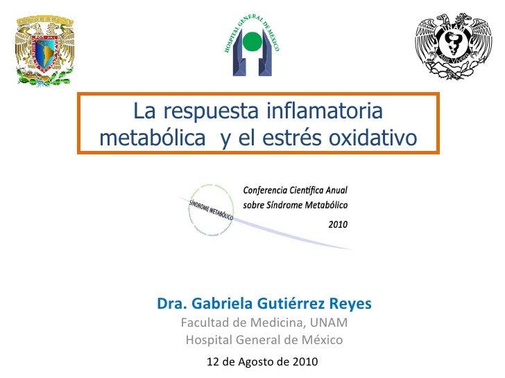 Dra. Gabriela Gutiérrez Reyes Facultad de Medicina, UNAM Hospital General de México 12 de Agosto de 2010 La respuesta infl...