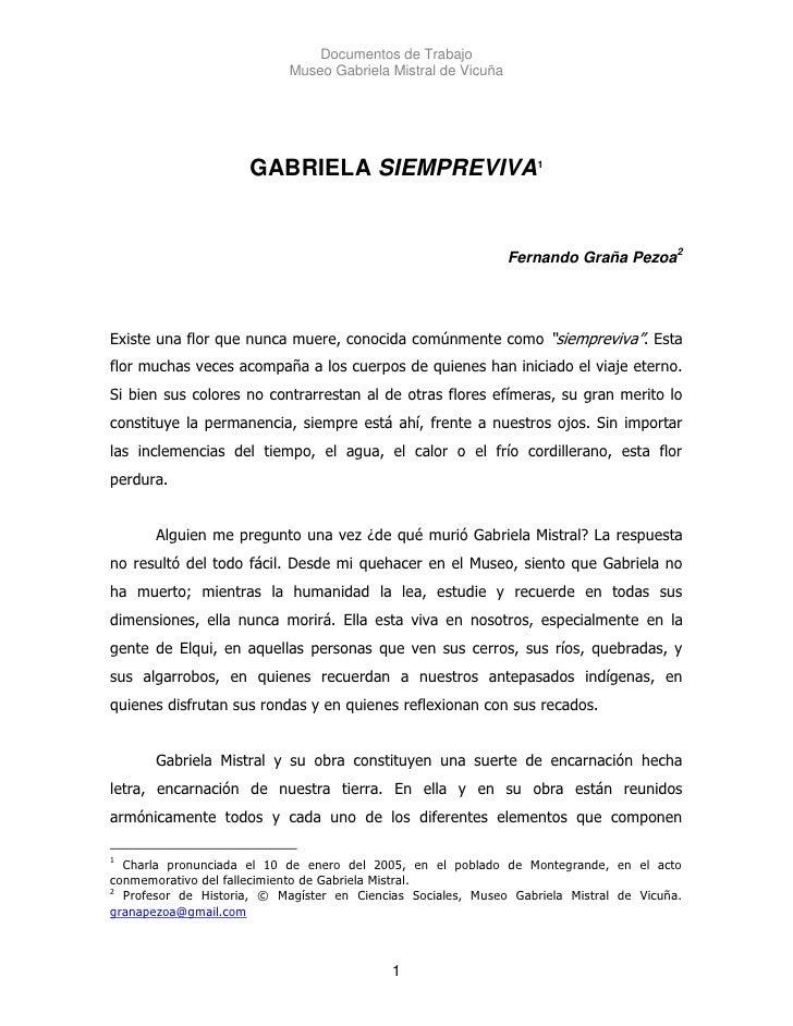 Documentos de Trabajo                             Museo Gabriela Mistral de Vicuña                          GABRIELA SIEMP...