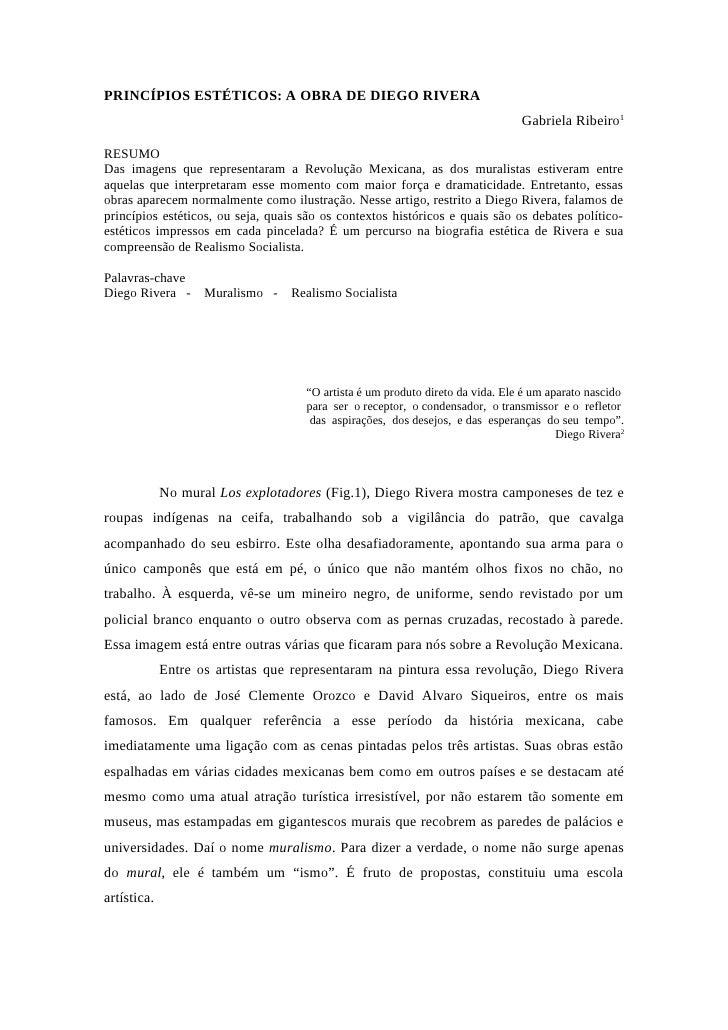 Gabriela Ribeiro:   Diego Rivera - princípios estéticos