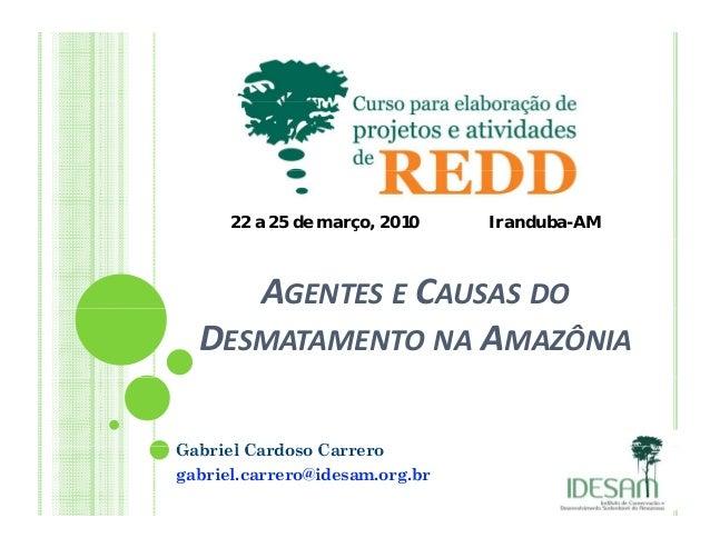 22 a 25 de março, 2010 Iranduba-AMAGENTES E CAUSAS DODESMATAMENTO NA AMAZÔNIAG b i l C d CGabriel Cardoso Carrerogabriel.c...