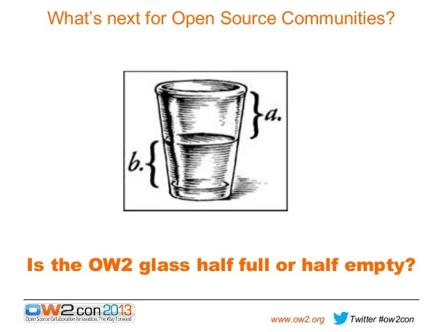 What's next for Open Source Communities?  Is the OW2 glass half full or half empty? www.ow2.org  Twitter #ow2con