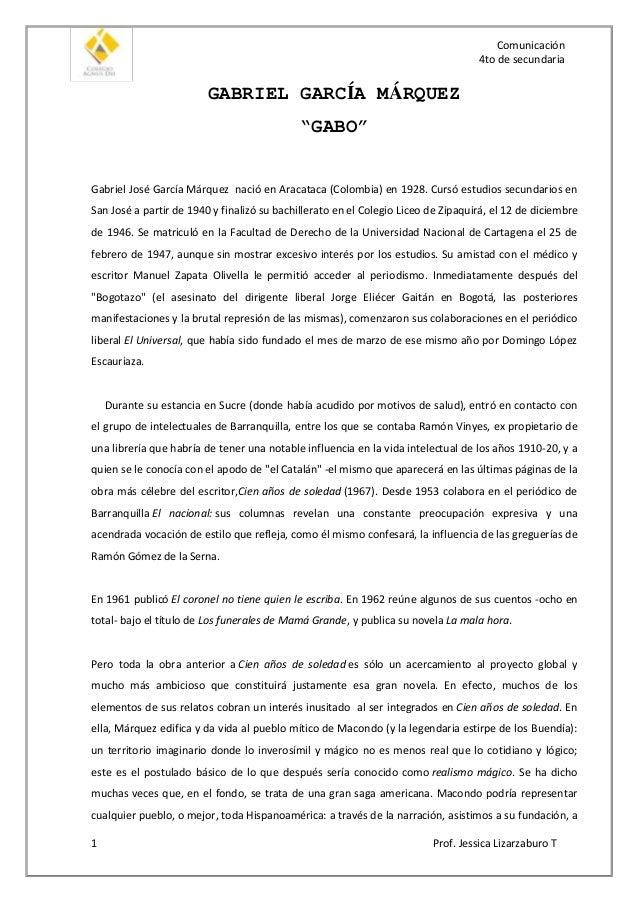 """Comunicación 4to de secundaria  GABRIEL GARCÍA MÁRQUEZ """"GABO"""" Gabriel José García Márquez nació en Aracataca (Colombia) en..."""