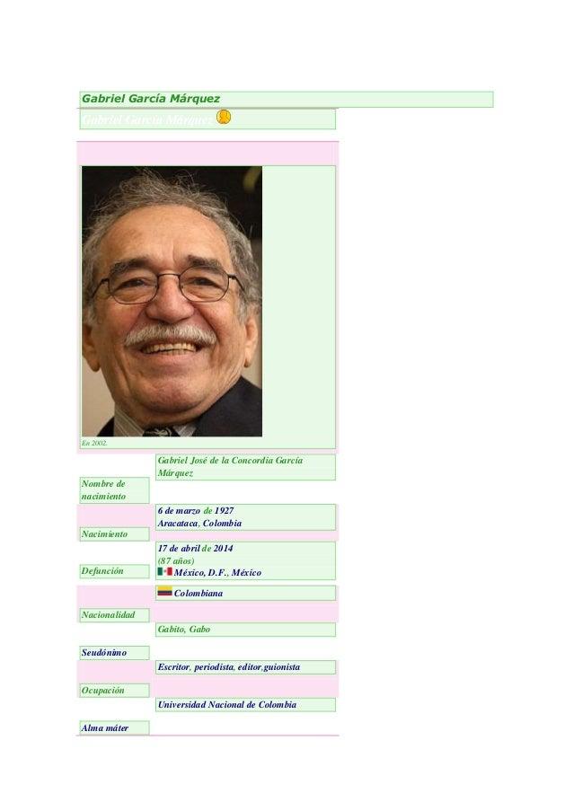 Gabriel García Márquez Gabriel García Márquez En 2002. Nombre de nacimiento Gabriel José de la Concordia García Márquez Na...