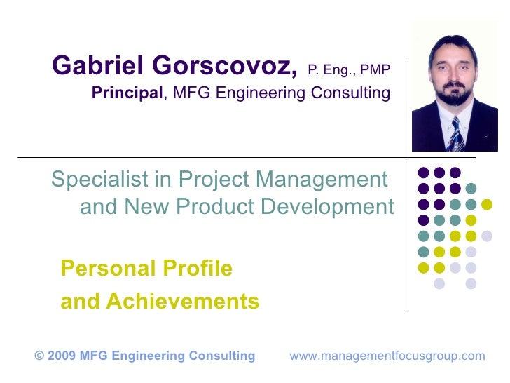 Engineering Consultancy Profile : Gabriel gorscovoz personal profile